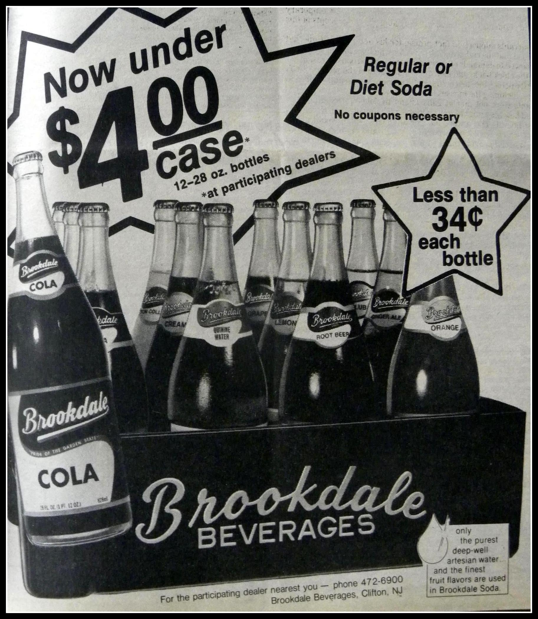 Brookdale Soda ad, captured by Bobby Cole