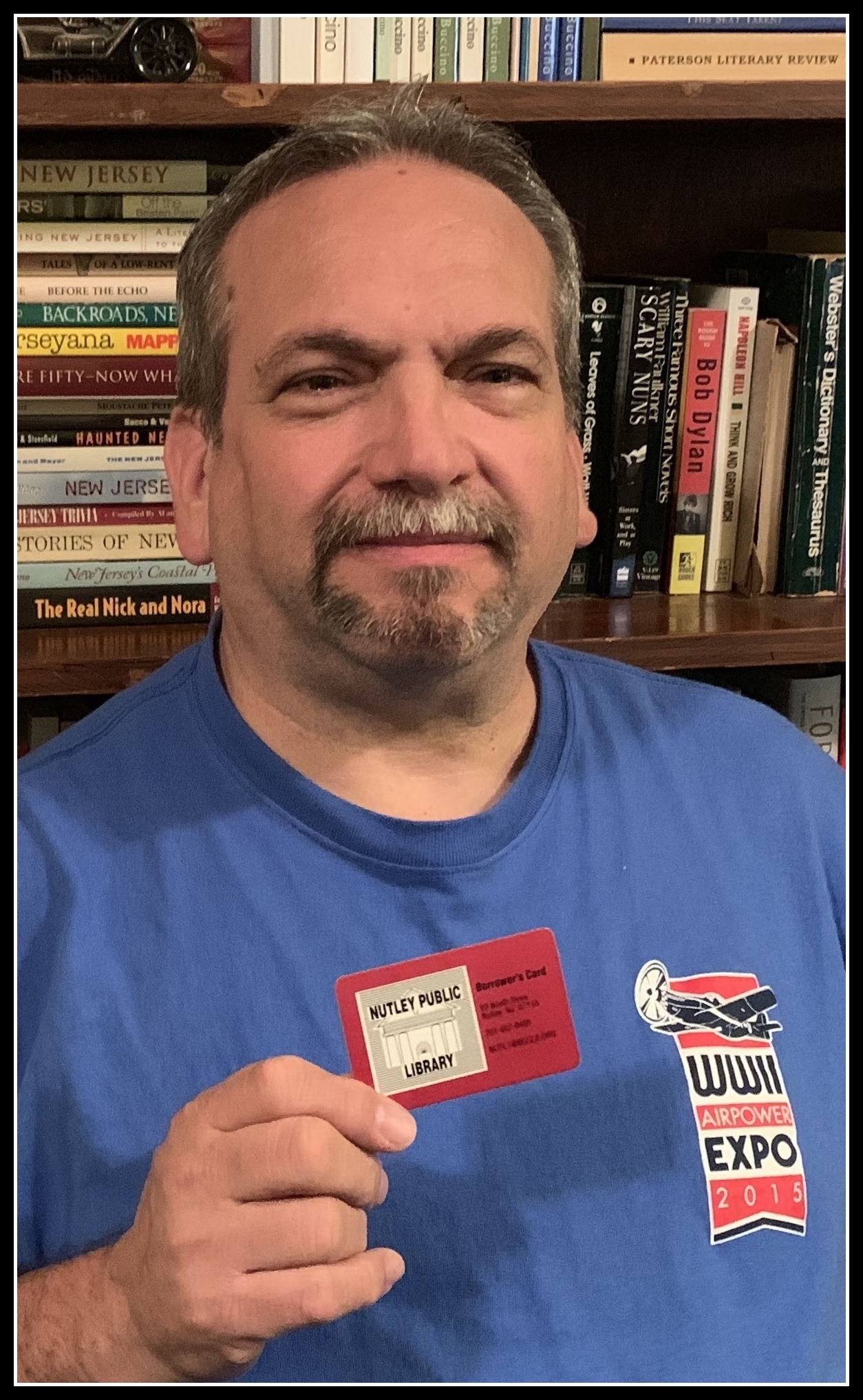 Author Anthony Buccino with Nutley Public Library library card