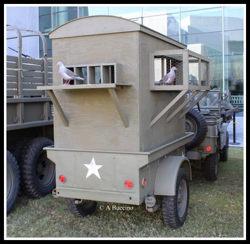 Restored WWII mobile homing pigeon carrier. U.S. Freedom Pavilion: The Boeing Center