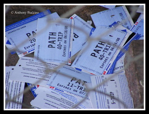 PATH trip tickets in trash © Anthony Buccino