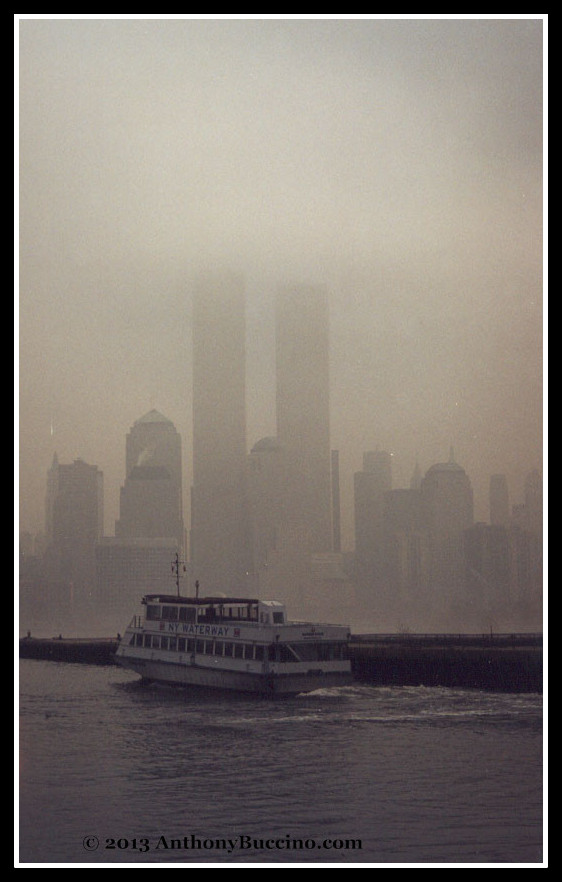 World Trade Center twin towers on a foggy afternoon, photo by Anthony Buccino