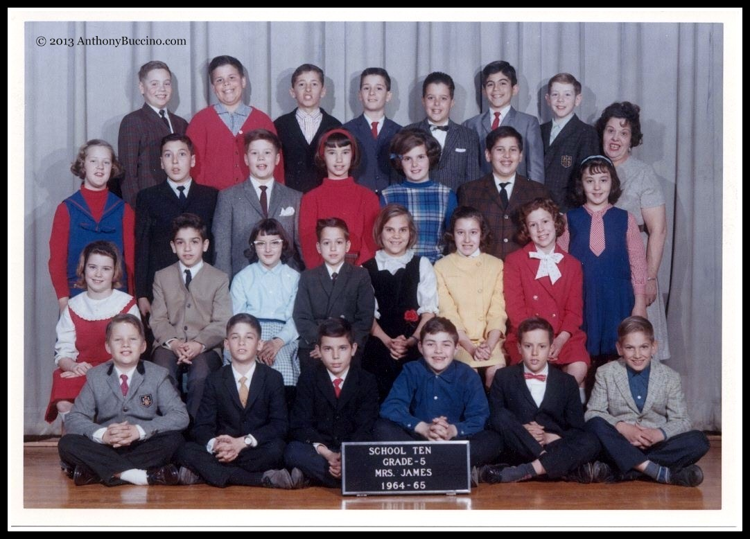 Smiling faces of Mrs. James' Grade5 class at School 10, 1964-65